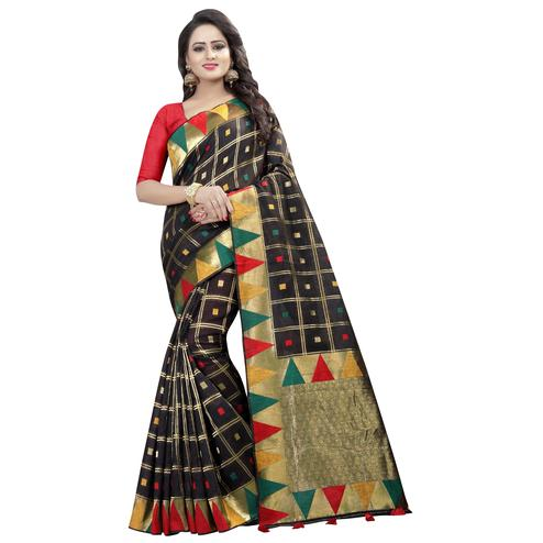 Classical Black Colored Festive Wear Linen Jacquard Saree