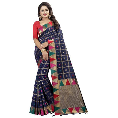 Demanding Navy Blue Colored Festive Wear Linen Jacquard Saree