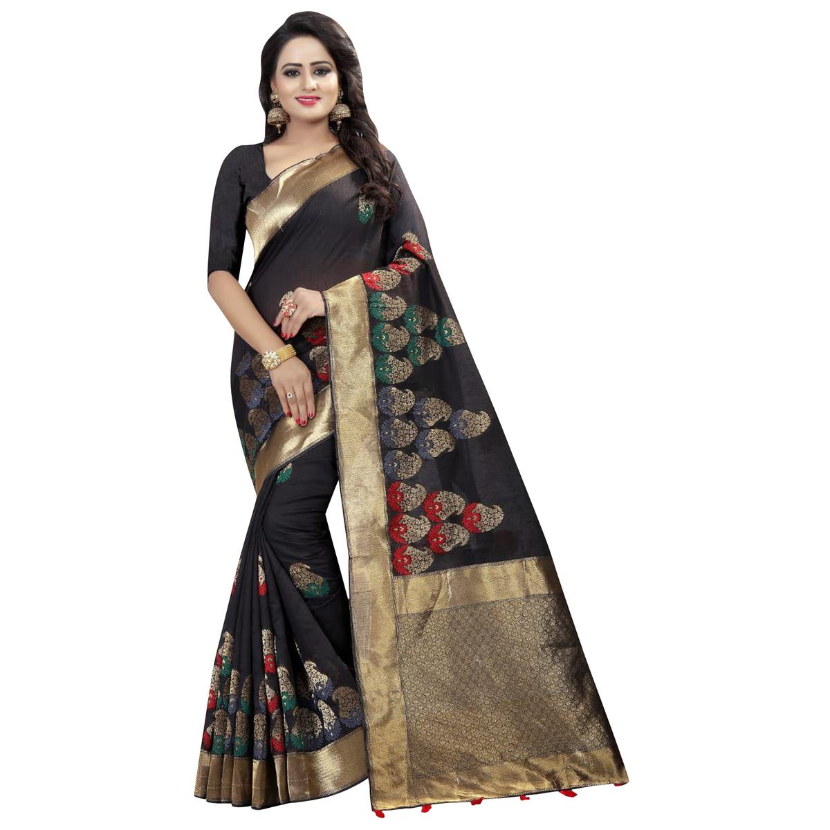 Majestic Black Colored Festive Wear Linen Jacquard Saree
