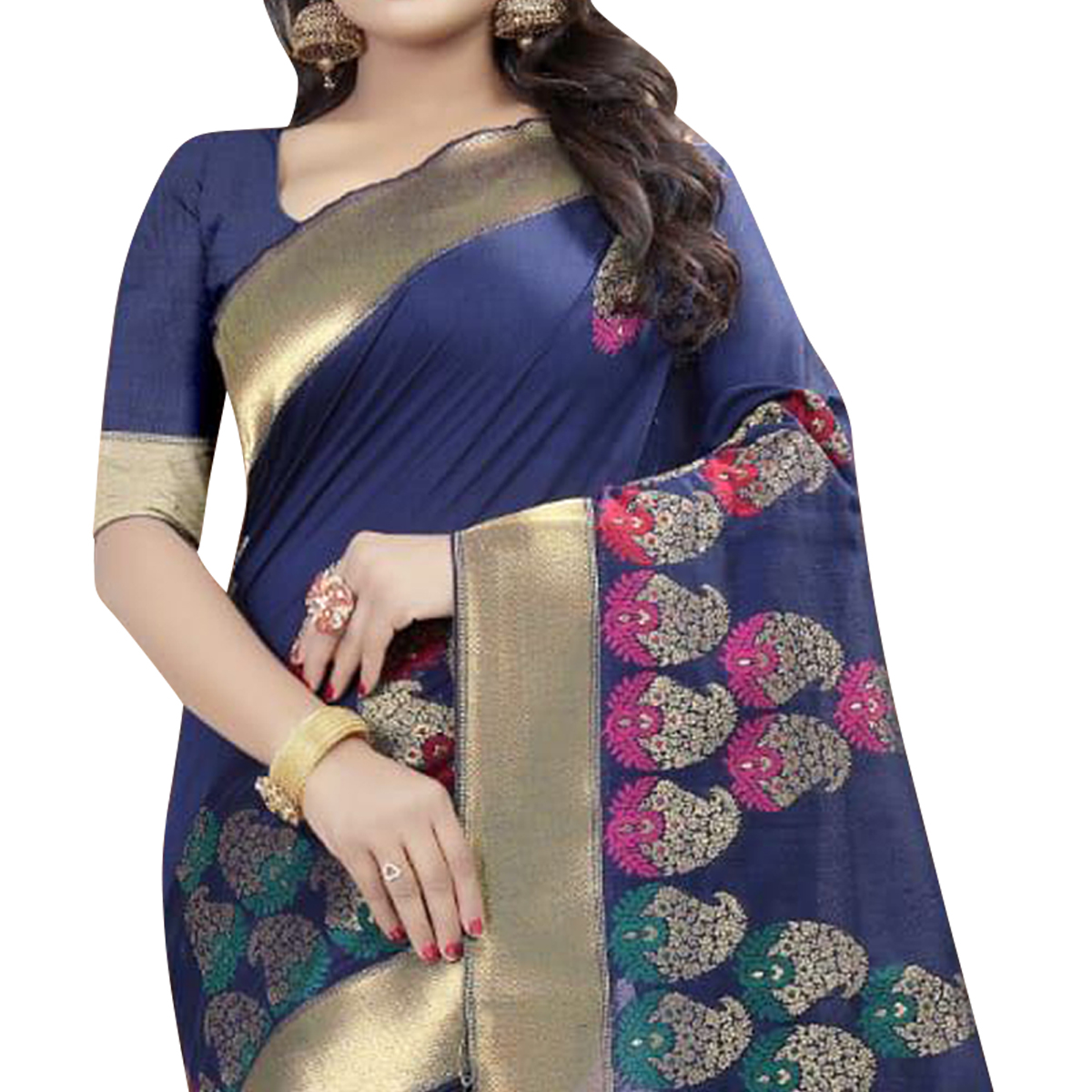 Irresistible Blue Colored Festive Wear Linen Jacquard Saree