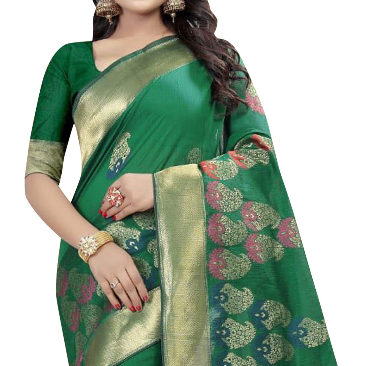 Refreshing Green Colored Festive Wear Linen Jacquard Saree