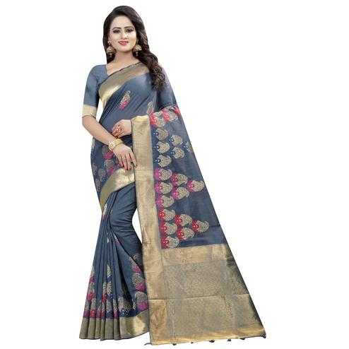 Desiring Gray Colored Festive Wear Linen Jacquard Saree