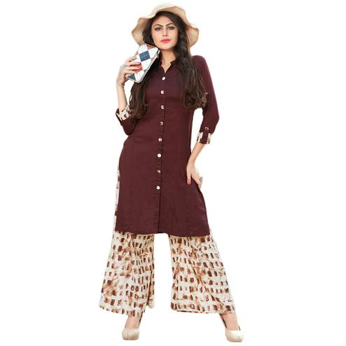 Stylish Brown Colored Casual Printed Rayon Kurti-Bottom Set