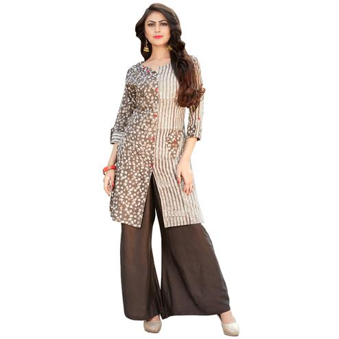 Lovely Cream-Brown Colored Casual Printed Rayon Kurti-Bottom Set