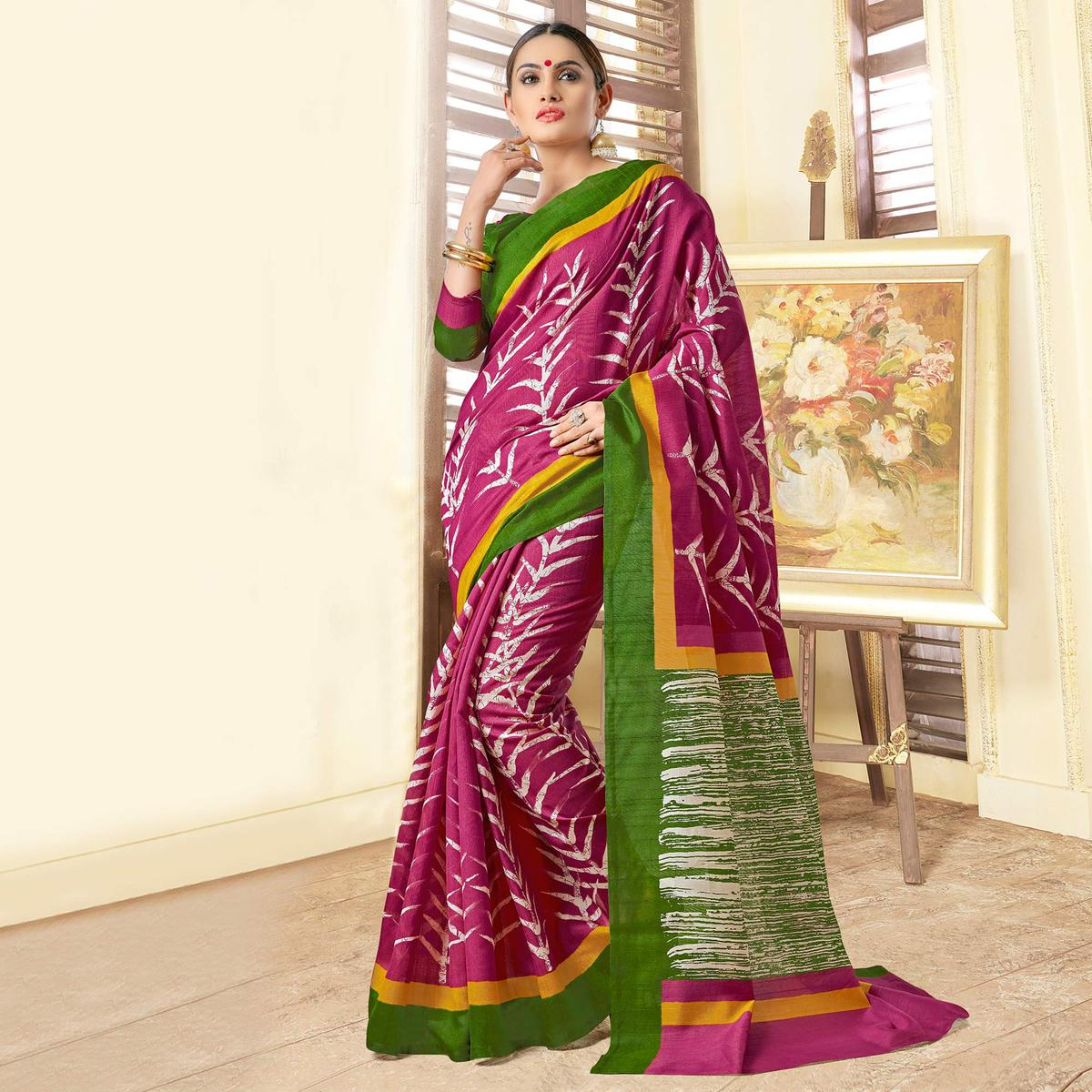 Pink Casual Wear Silk Saree