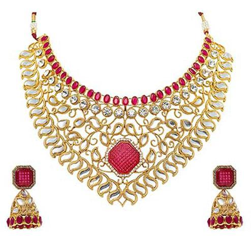 Appealing Design Choker Pink Kundan, Austrian Daimond Stone Necklace