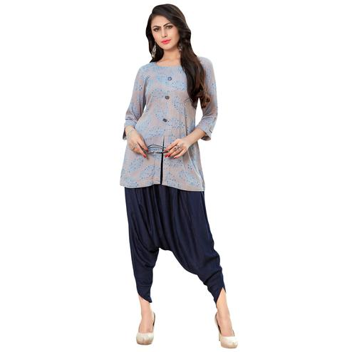 Amazing Gray Colored Casual Printed Rayon Kurti-Bottom Set