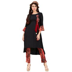Demanding Black Colored Casual Printed Rayon Kurti-Bottom Set