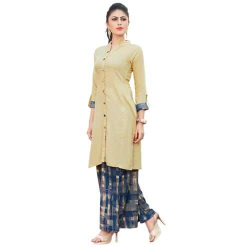 Pleasant Cream Colored Casual Printed Rayon Kurti-Bottom Set