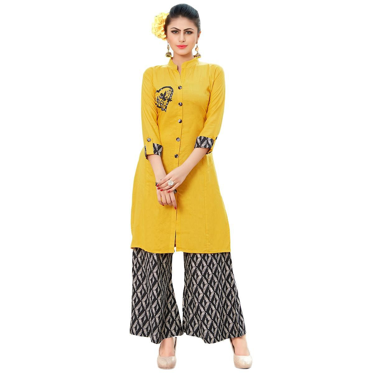 Glowing Yellow Colored Casual Printed Rayon Kurti-Bottom Set