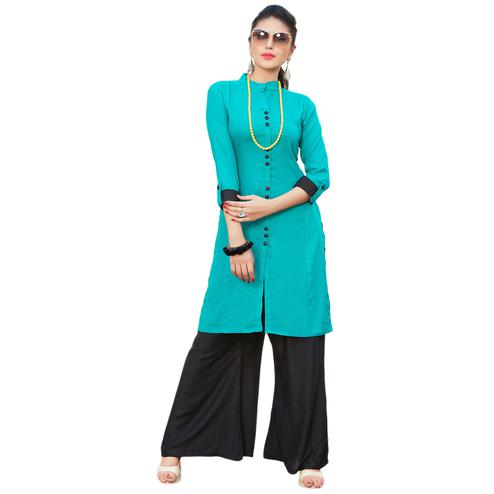Majestic Aqua Blue Colored Casual Printed Rayon Kurti-Bottom Set