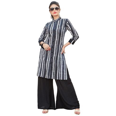 Attractive Black-White Colored Casual Printed Rayon Kurti-Bottom Set