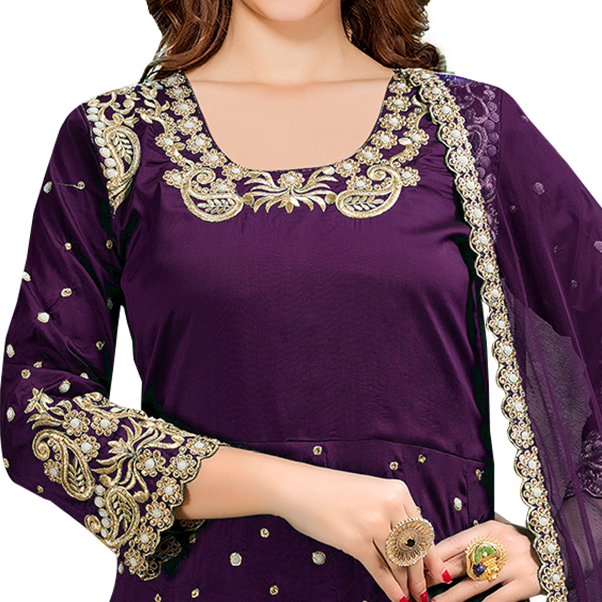 Impressive Purple Colored Partywear Embroidered Tapeta Silk Anarkali Suit