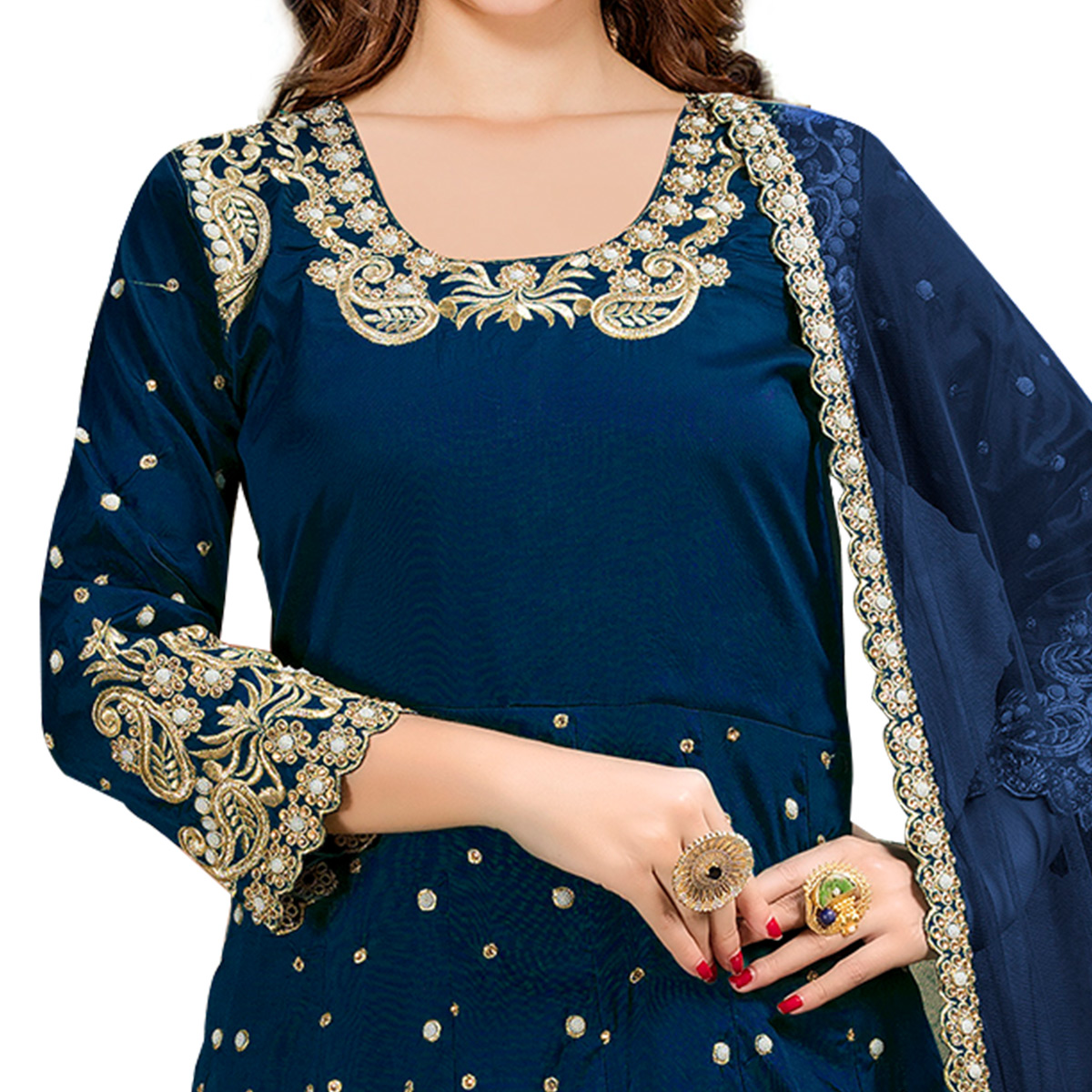 Desiring Navy Blue Colored Partywear Embroidered Tapeta Silk Anarkali Suit