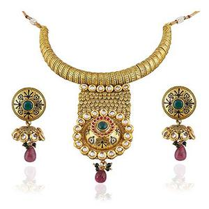 Exclusive Gold Plated White Kundan Necklace Set