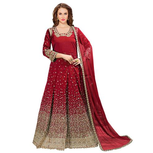Glowing Red Colored Partywear Embroidered Tapeta Silk Anarkali Suit