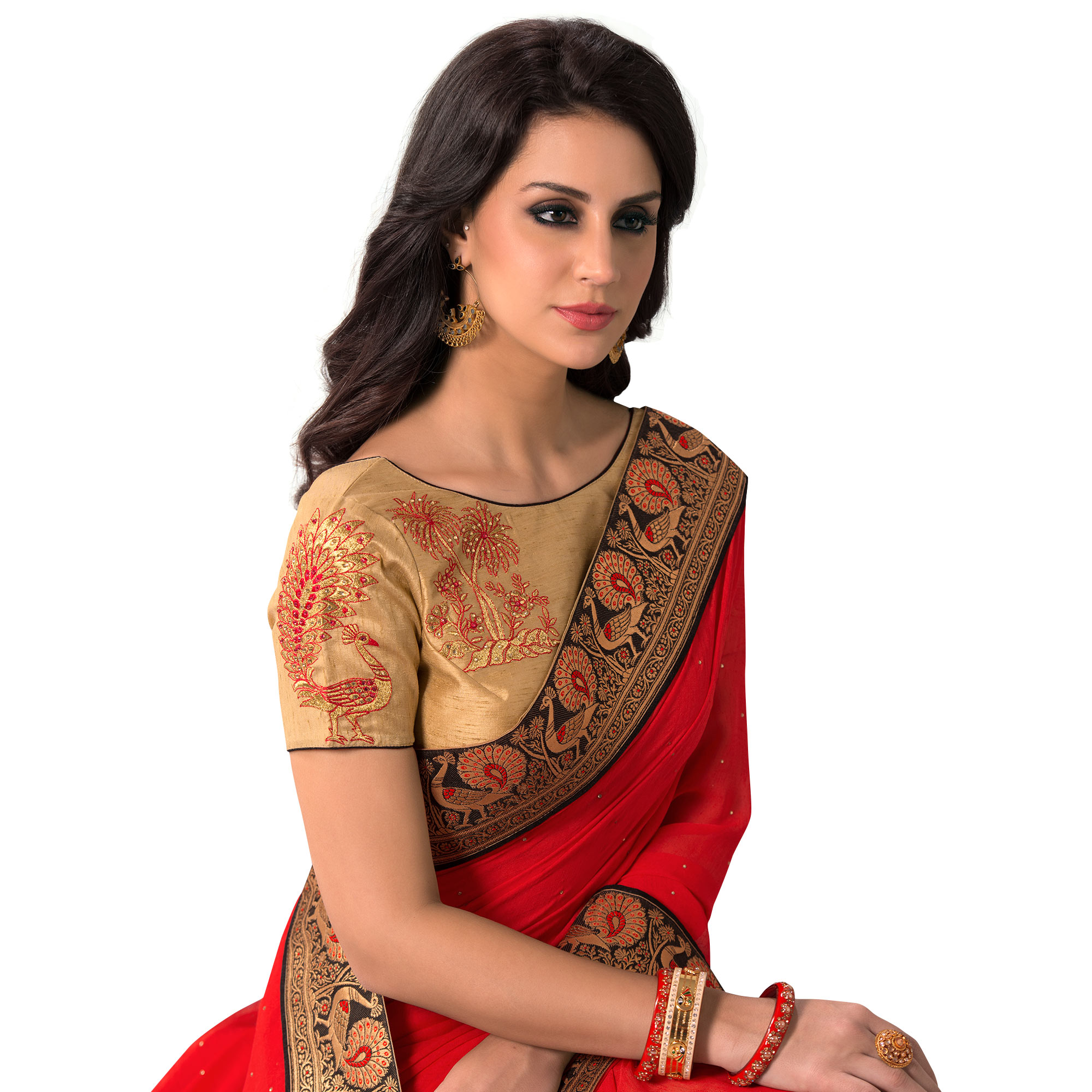 Arresting Red Colored Partywear Embroidered Chiffon Saree