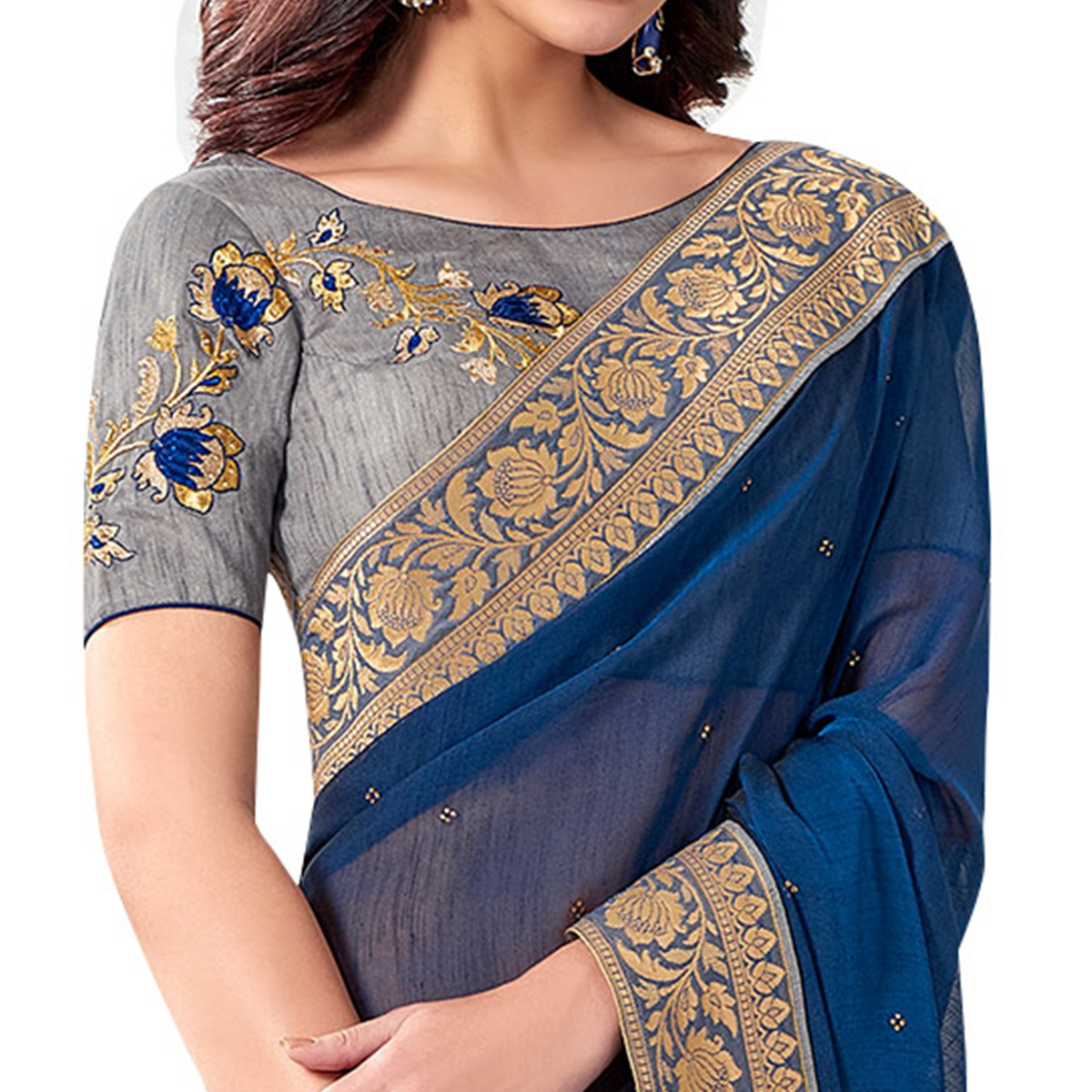Blooming Blue Colored Partywear Embroidered Chiffon Saree