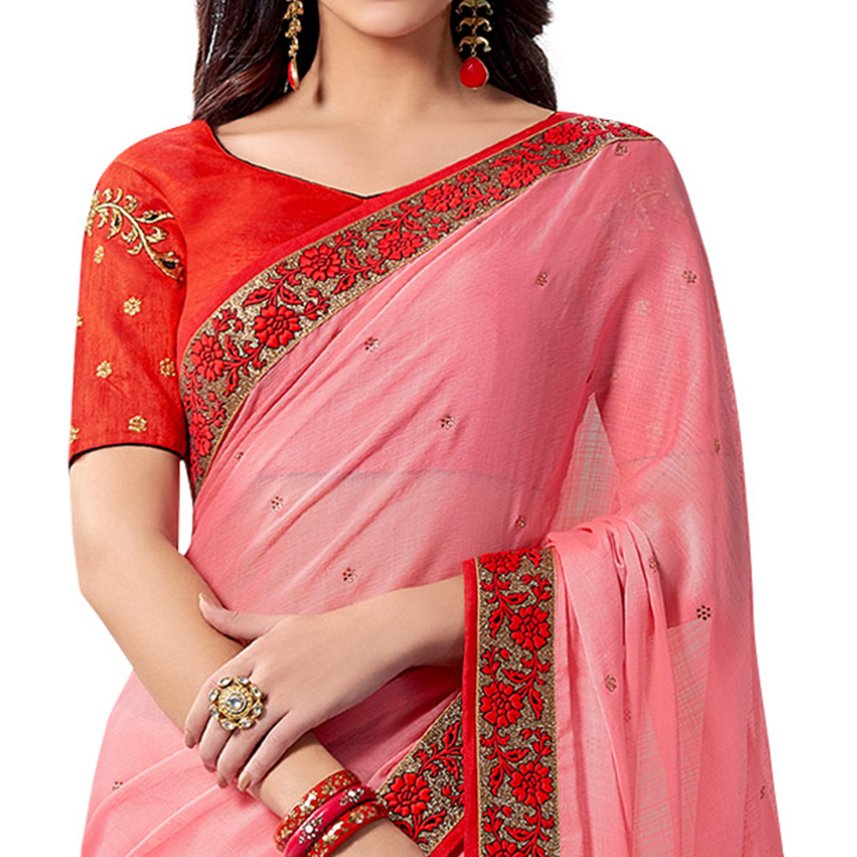 Perfect Pink Colored Partywear Embroidered Chiffon Saree