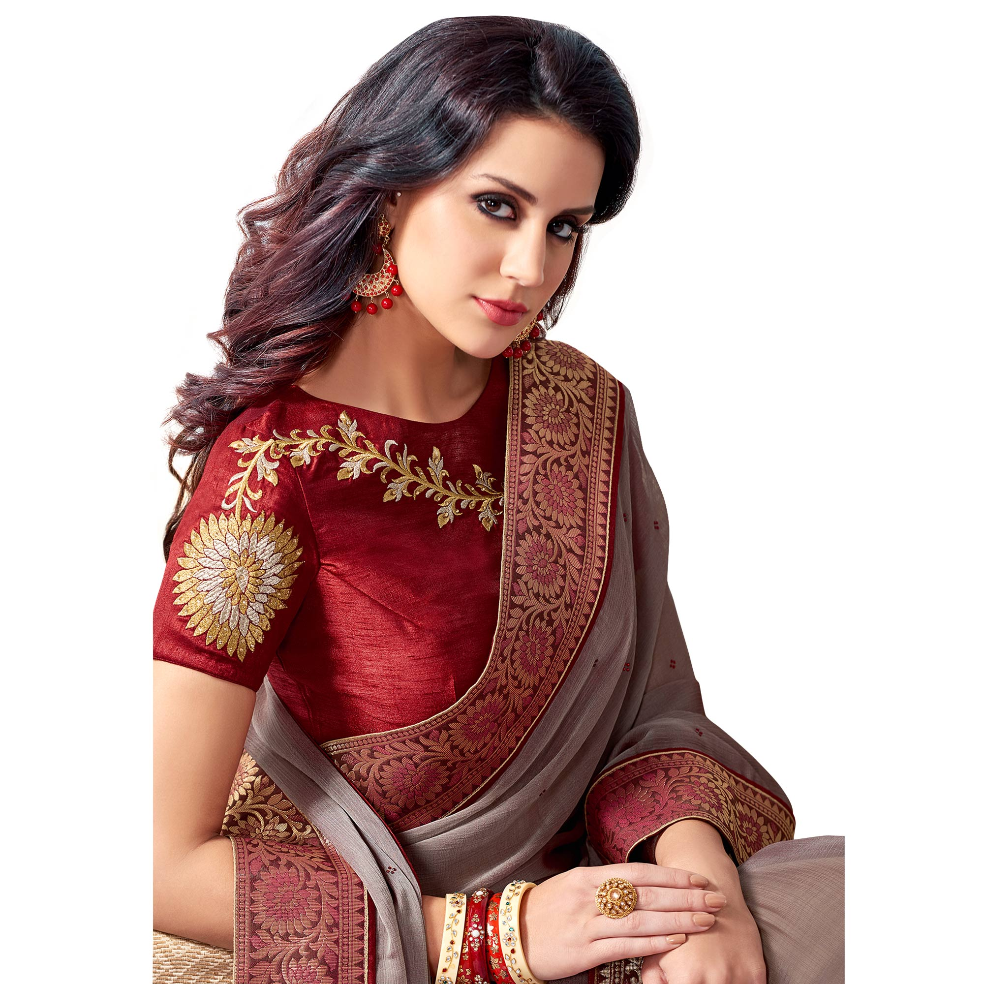 Exceptional Gray Colored Partywear Embroidered Chiffon Saree