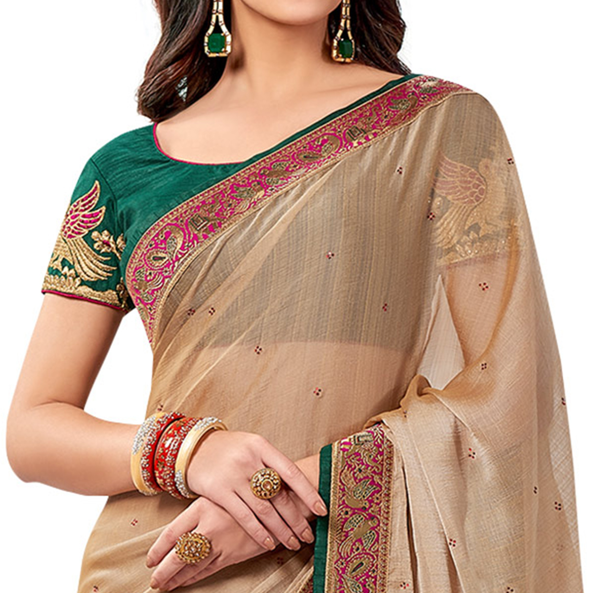 Attractive Beige Colored Partywear Embroidered Chiffon Saree