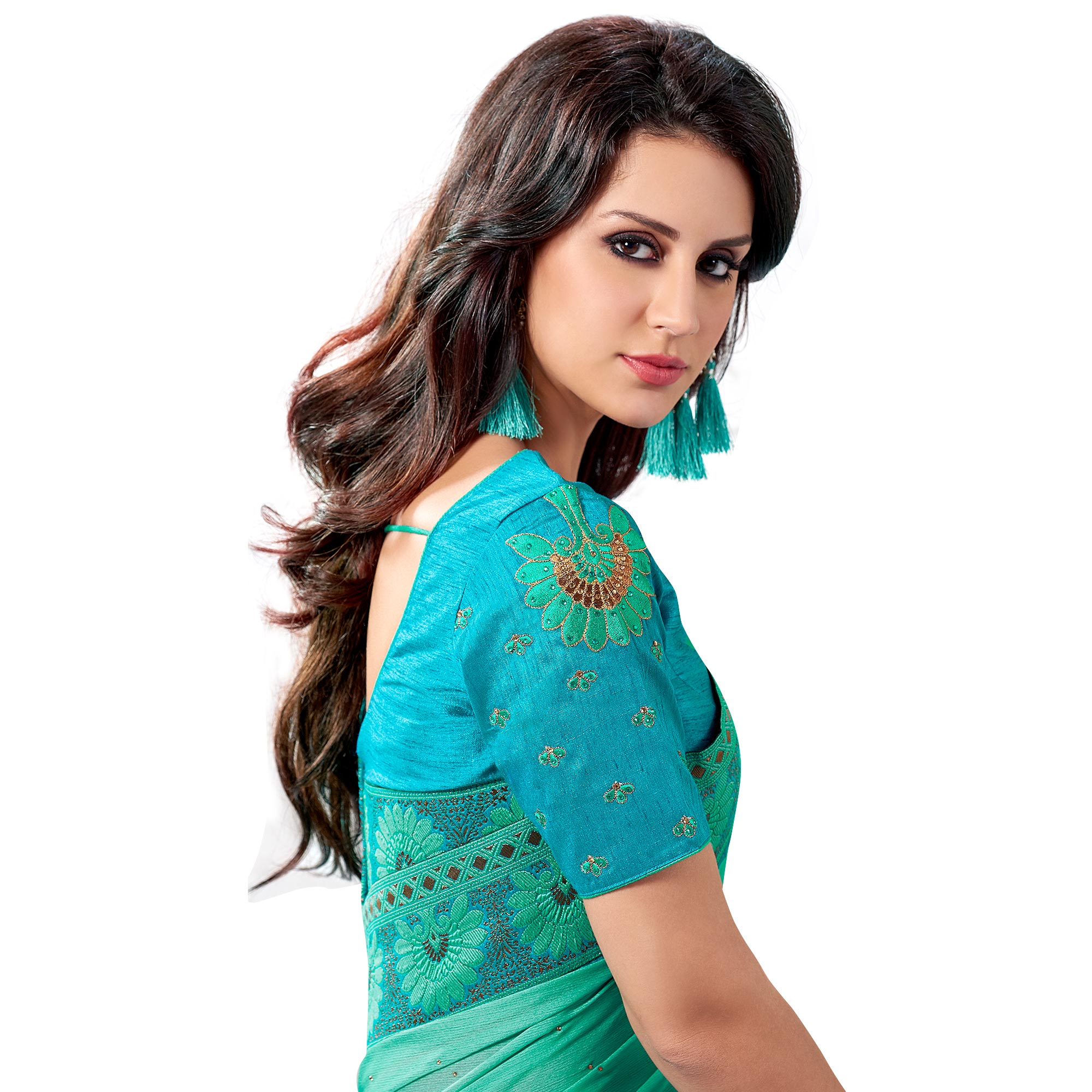 Majestic Green Colored Partywear Embroidered Chiffon Saree