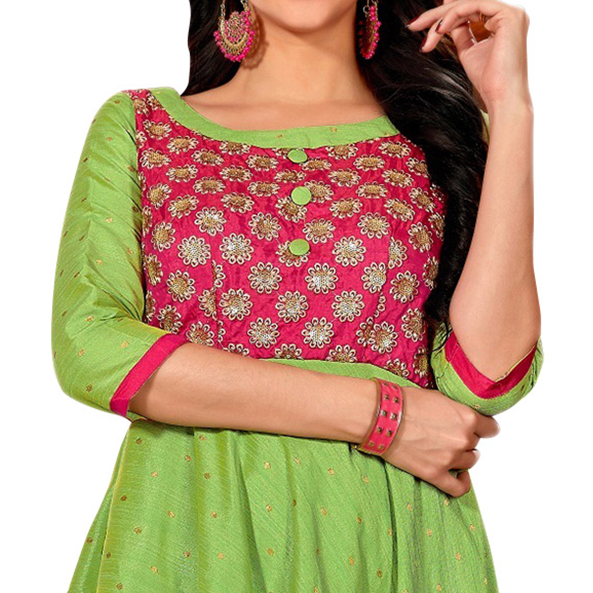 Refreshing Green Colored Partywear Embroidered Art Silk Gown