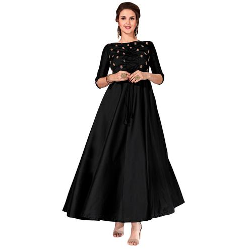Beautiful Black Colored Partywear Embroidered Art Silk Gown