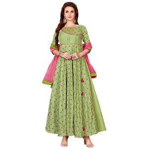 Blooming Green Colored Partywear Embroidered Art Silk Gown