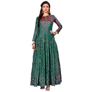 Appealing Teal Green Colored Partywear Embroidered Art Silk Gown