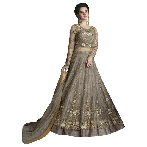 Arresting Gray Colored Partywear Designer Embroidered Net Lehenga Kameez
