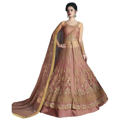 Impressive Pink Colored Partywear Designer Embroidered Net Lehenga Kameez