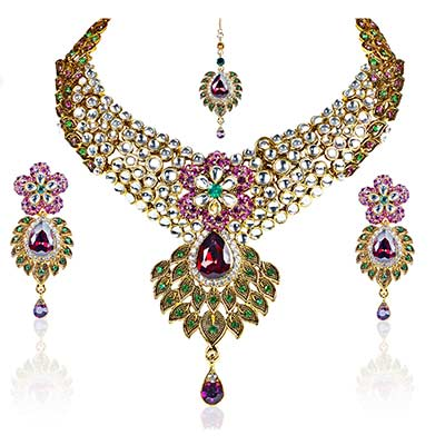 Exclusive Purple & Green Kundan Necklace Set with Maang Tikka