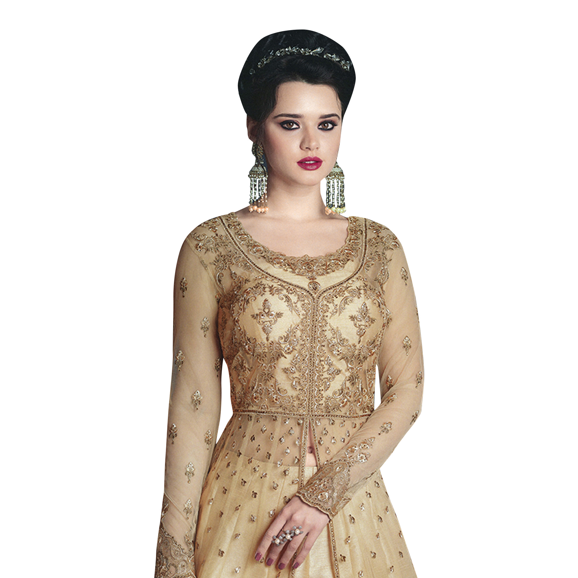Gorgeous Golden Colored Partywear Designer Embroidered Net Lehenga Kameez