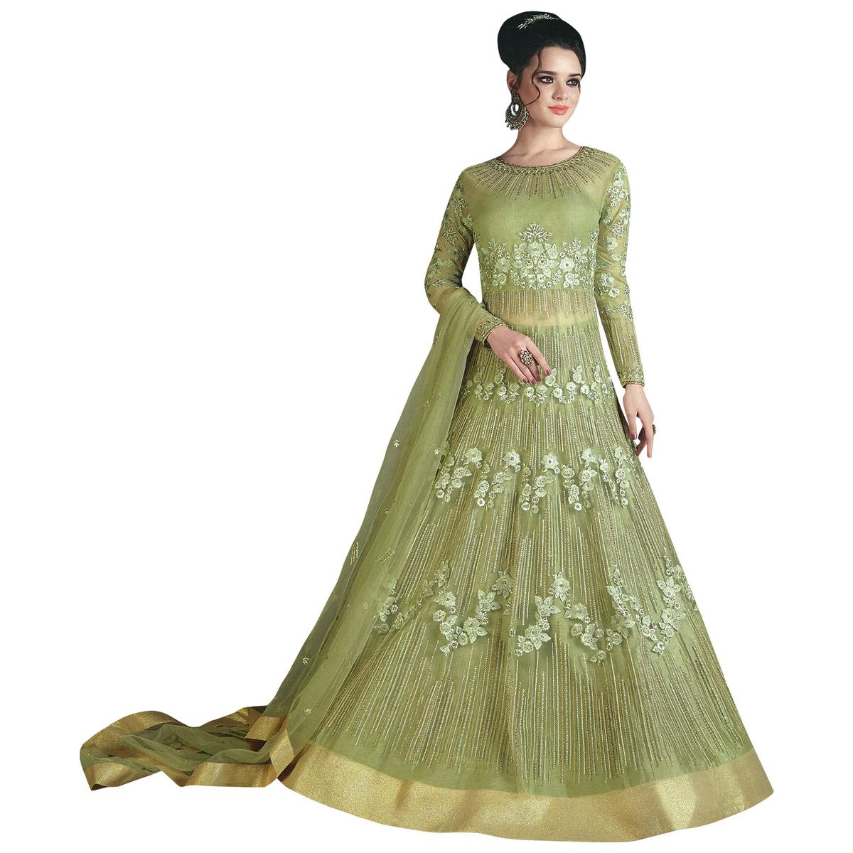 Refreshing Green Colored Partywear Designer Embroidered Net Lehenga Kameez