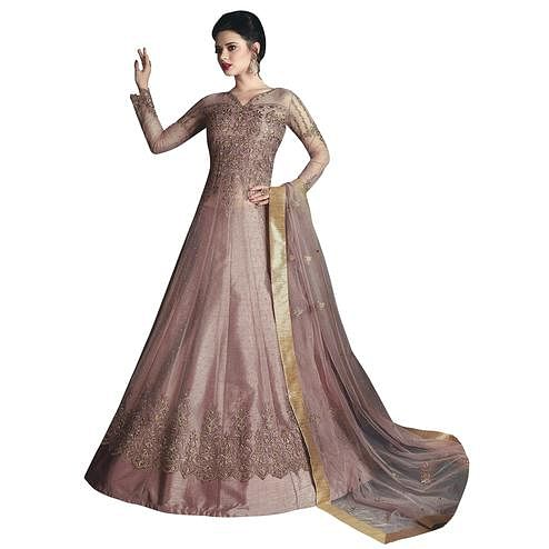 Exceptional Light Wine Colored Partywear Designer Embroidered Net Lehenga Kameez