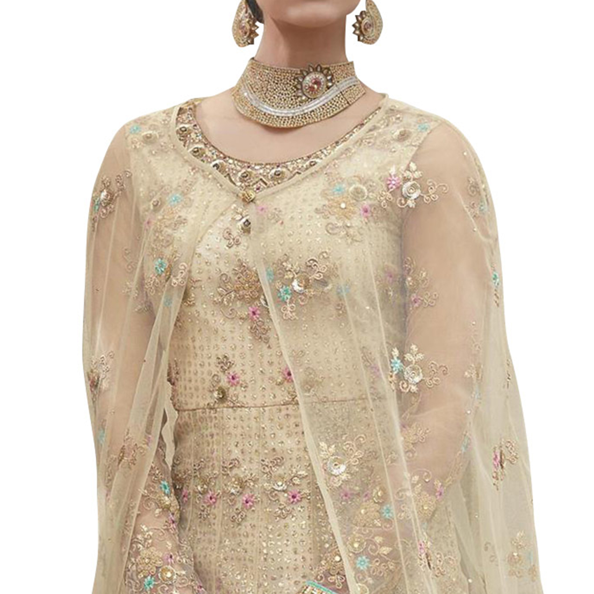 Arresting Cream Colored Partywear Embroidered Net Anarkali Suit