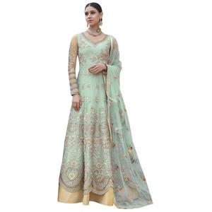 Hypnotic Mint Green Colored Partywear Embroidered Net Anarkali Suit