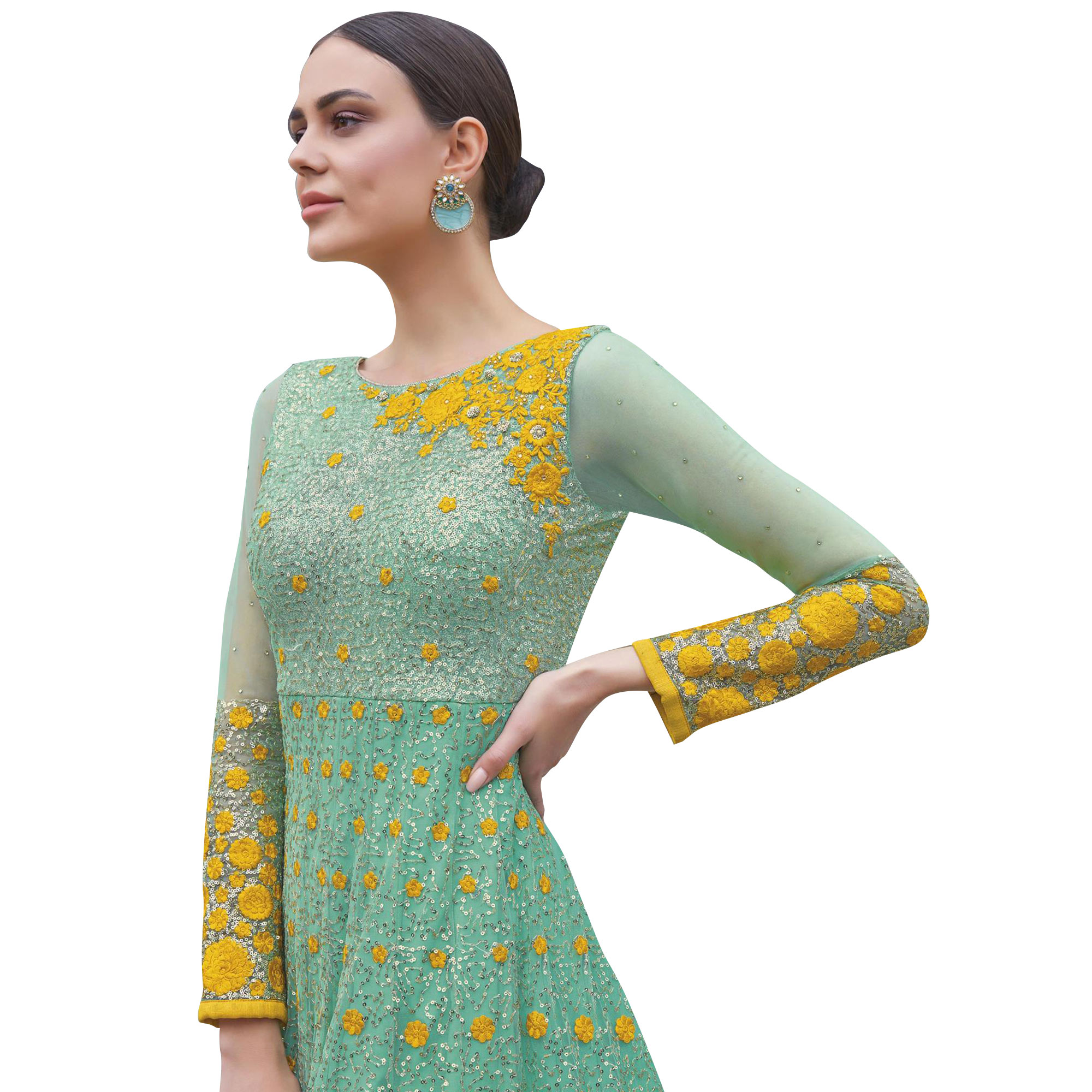 Impressive Dark Mint Green Colored Partywear Embroidered Net Anarkali Suit