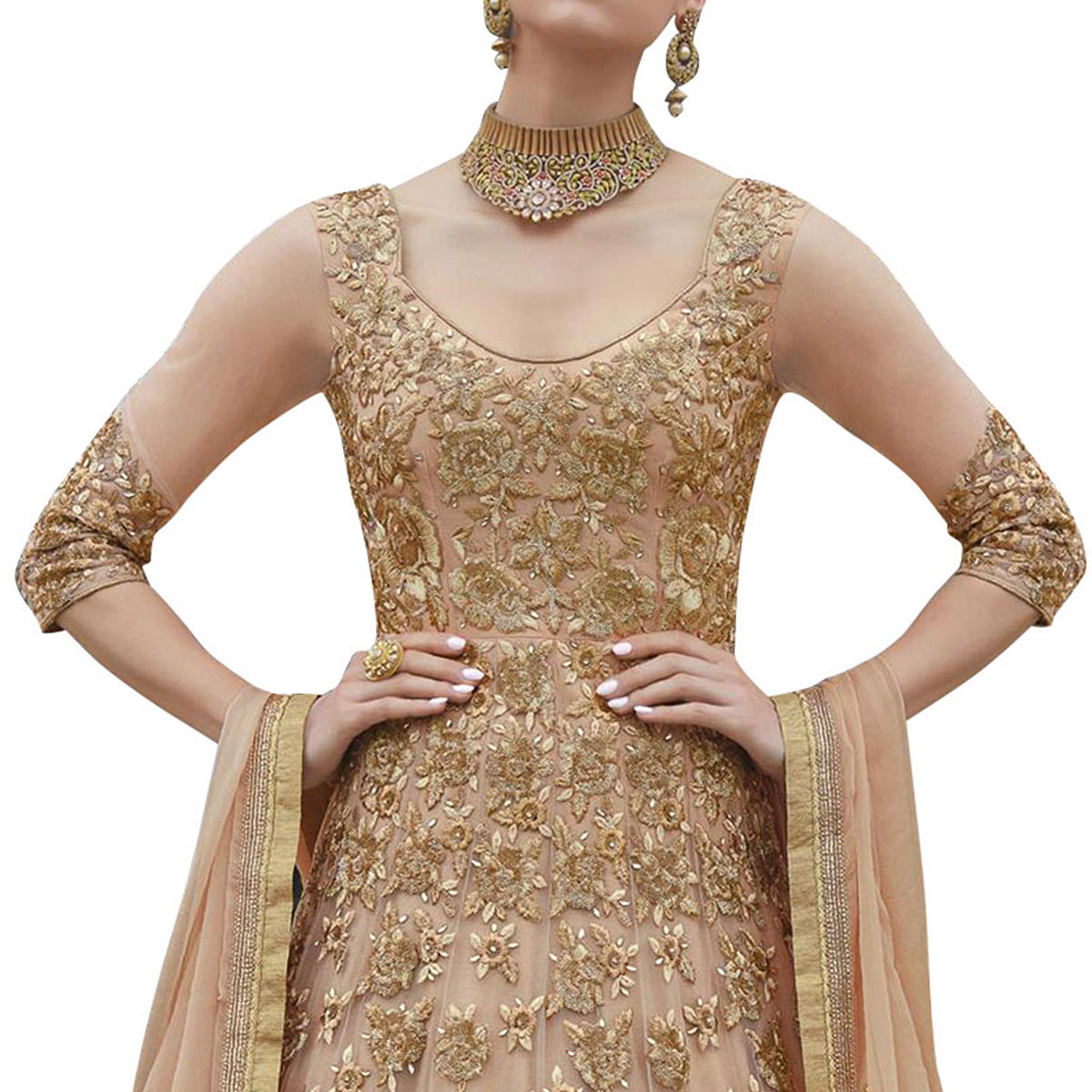 Amazing Cream Colored Partywear Embroidered Net Anarkali Suit