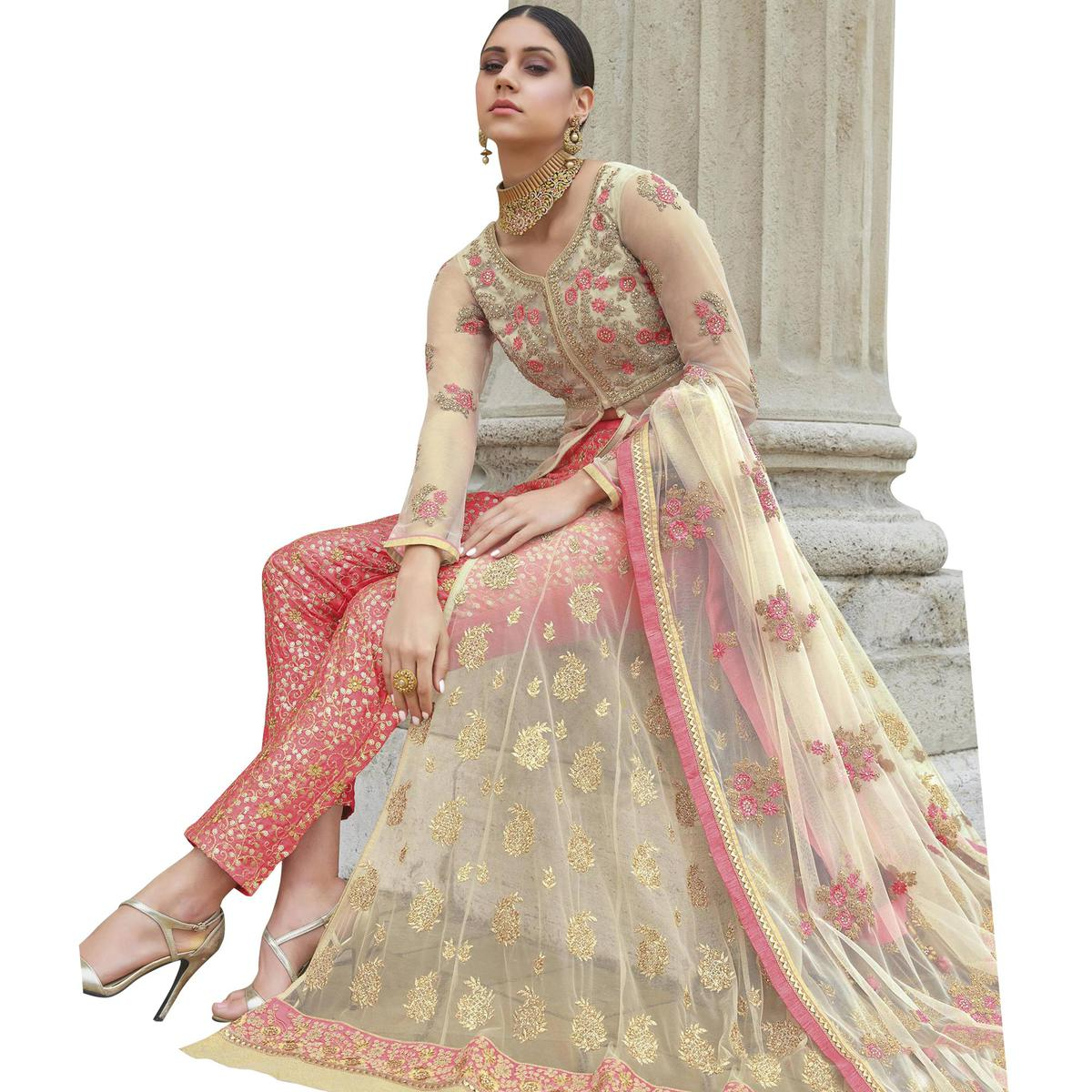 Charming Pink Colored Partywear Embroidered Net Anarkali Suit