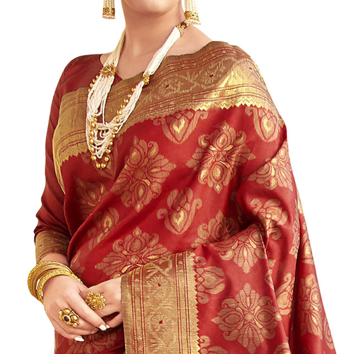 Adorning Red Colored Festive Wear Woven Ikkat Silk Saree