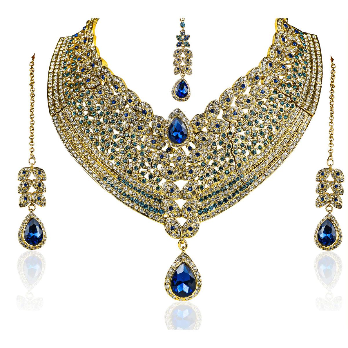 Royal Blue Attractive Necklace Set With Maang Tikka