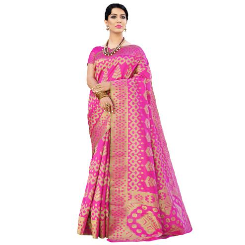 Impressive Pink Colored Festive Wear Woven Ikkat Silk Saree