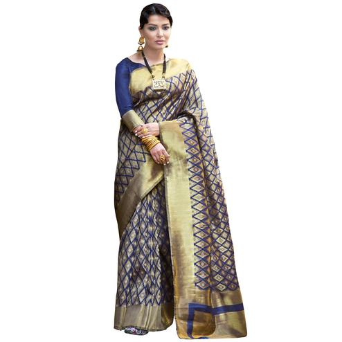 Eye-Catching Navy Blue-Beige Colored Festive Wear Woven Ikkat Silk Saree