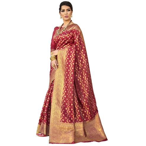 Traditional Maroon Colored Festive Wear Woven Ikkat Silk Saree