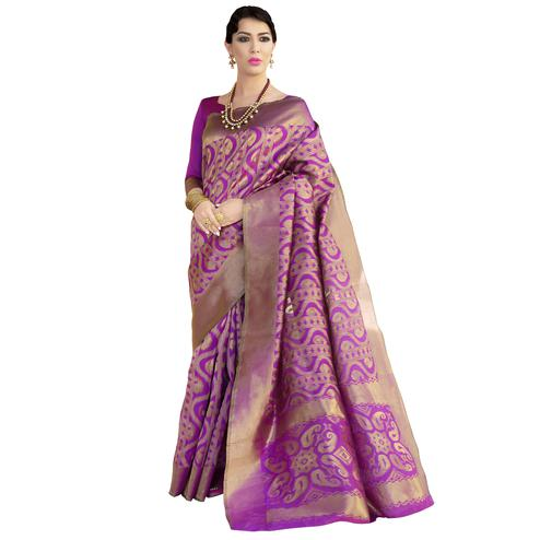Perfect Purple Colored Festive Wear Woven Ikkat Silk Saree