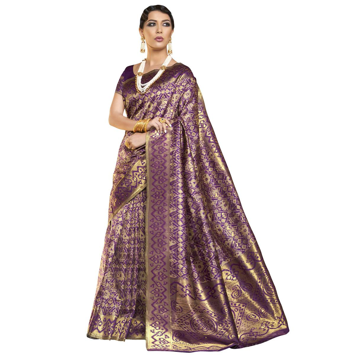 Classy Purple Colored Festive Wear Woven Ikkat Silk Saree