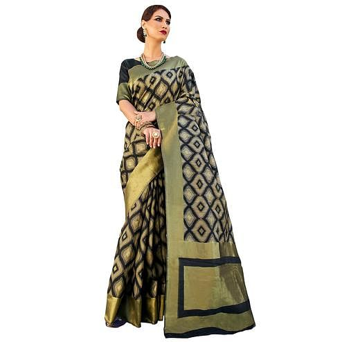 Beautiful Black Colored Festive Wear Woven Ikkat Silk Saree