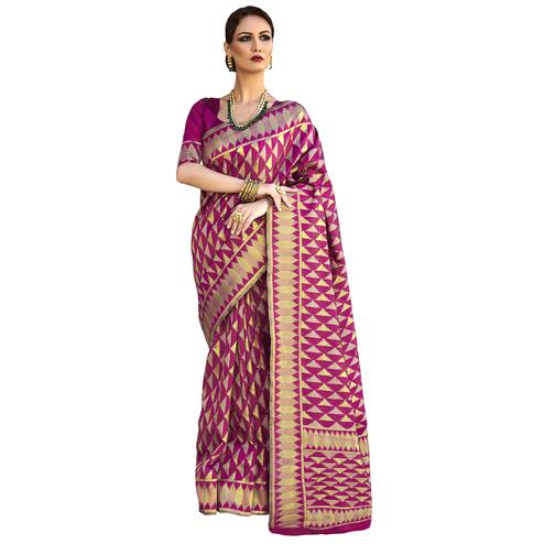 Amazing Magenta Colored Festive Wear Woven Ikkat Silk Saree